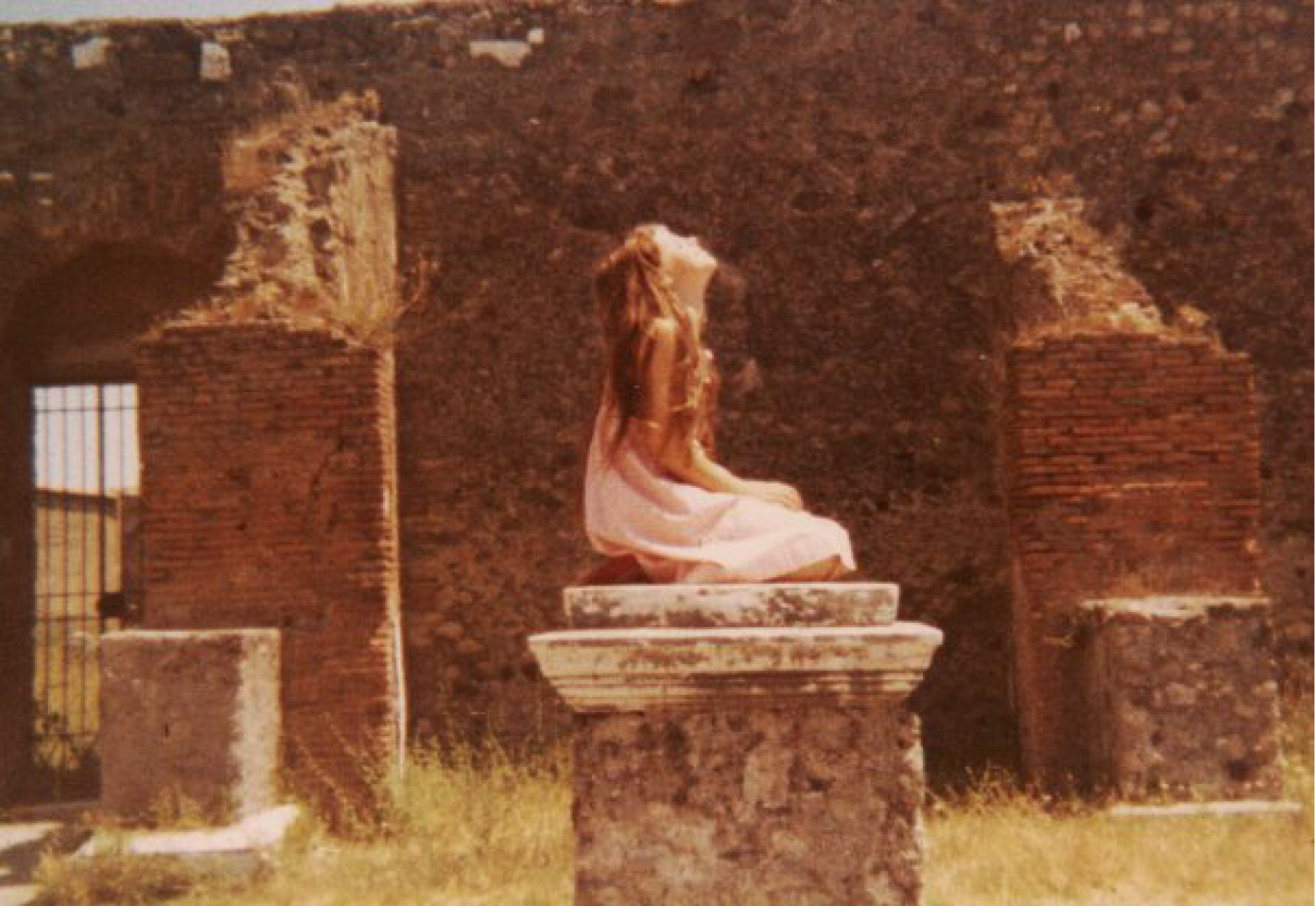 My mother Shelley asked me to strike this pose in Pompeii. I had to pretend to be a nymph,  praying to Venus.