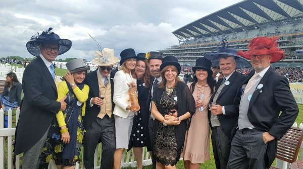 Here we are at Ascot 2016, with a traditional hat swap. Our hats are quite benign, don't you think?
