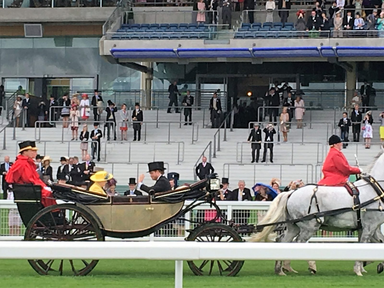 The Queen arrives with the Duke of Edinburgh and Prince Harry