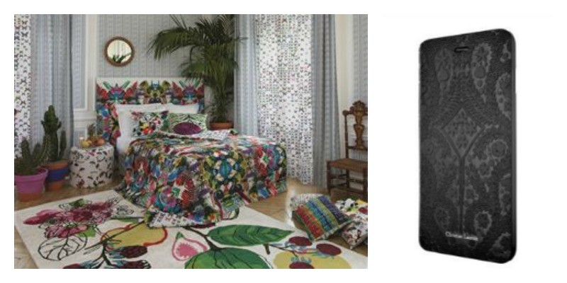 Left: I'm not sure if it's colourful enough for Eddy, but here is the Lacroix Manaos Perroquet scheme at Designers Guild. Right: Lacroix's iphone case, priced at £23, is just the thing for Eddy's important business phone calls. www.designersguild.com