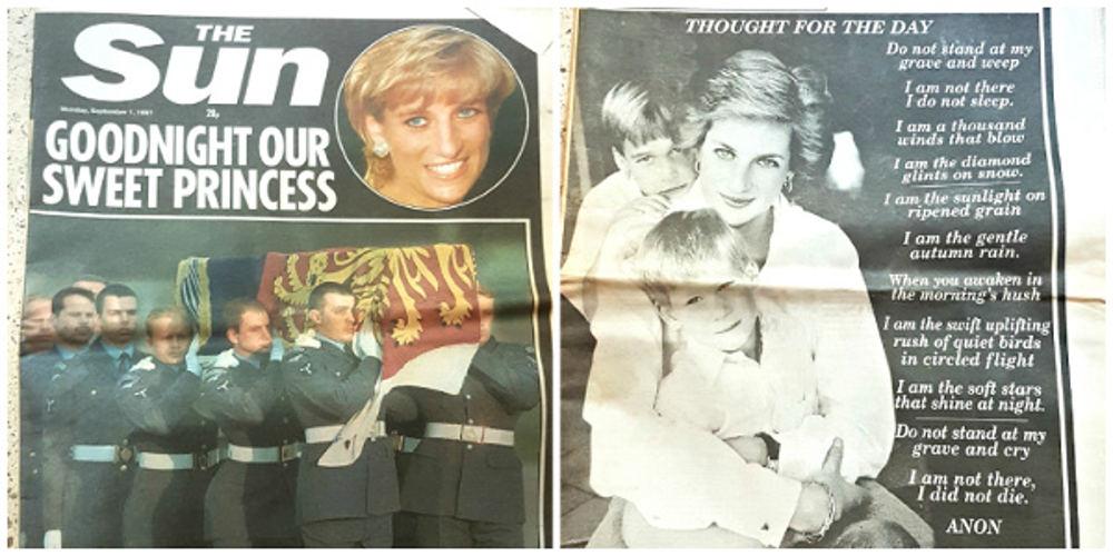 Princess Diana funeral newspaper