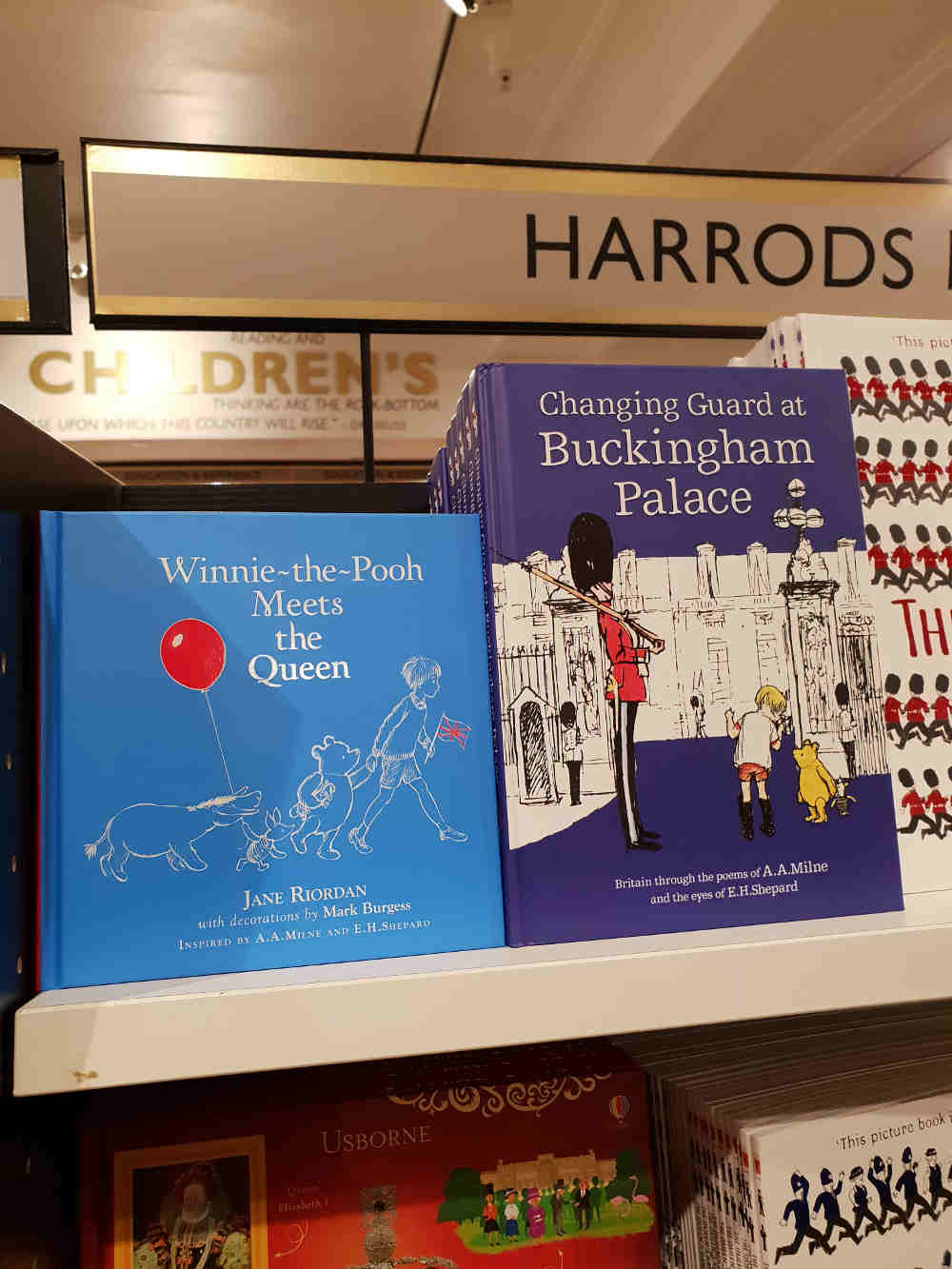 Harrods Winnie Pooh, AA Milne London, London one day with kids, Kids books set in London, literary London kids