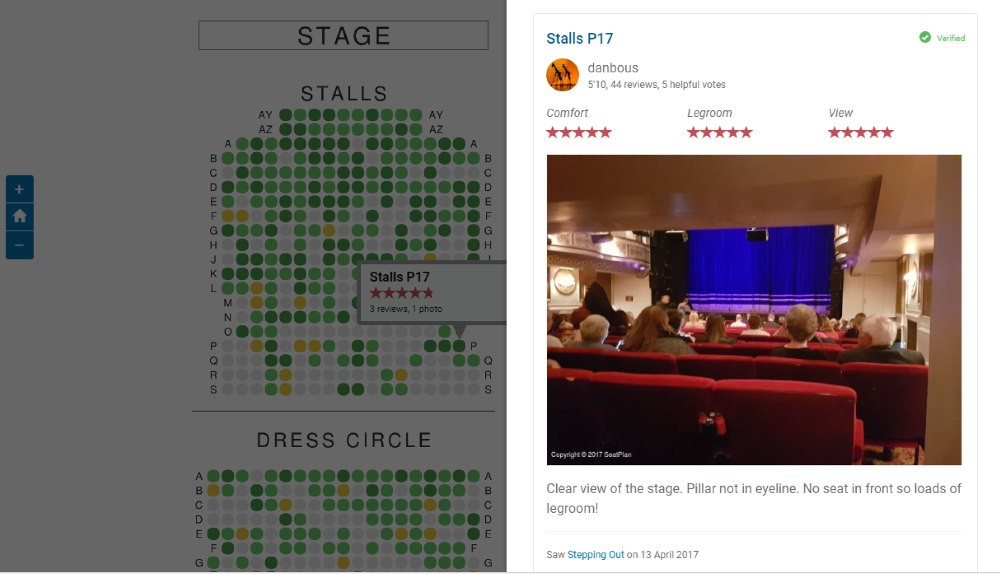 Seat Plan, best seats in the theatre in London, seat review