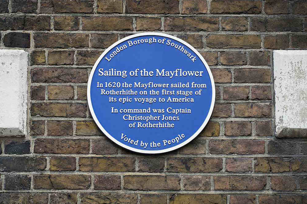 Sailing of the Mayflower sign London