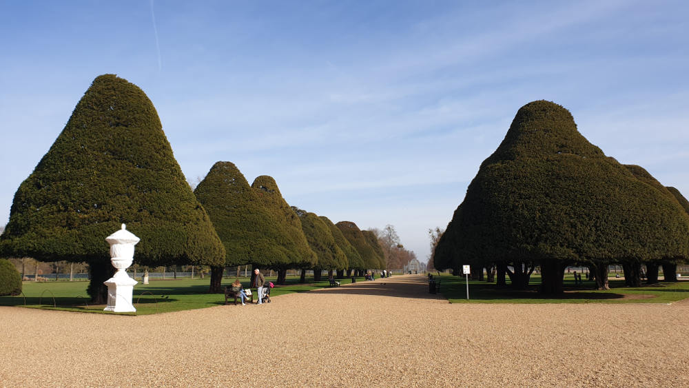 The Favourite, Costumes, Hampton Court Palace, Queen Anne, Ewe trees, Capability Brown, Great Fountain Garden