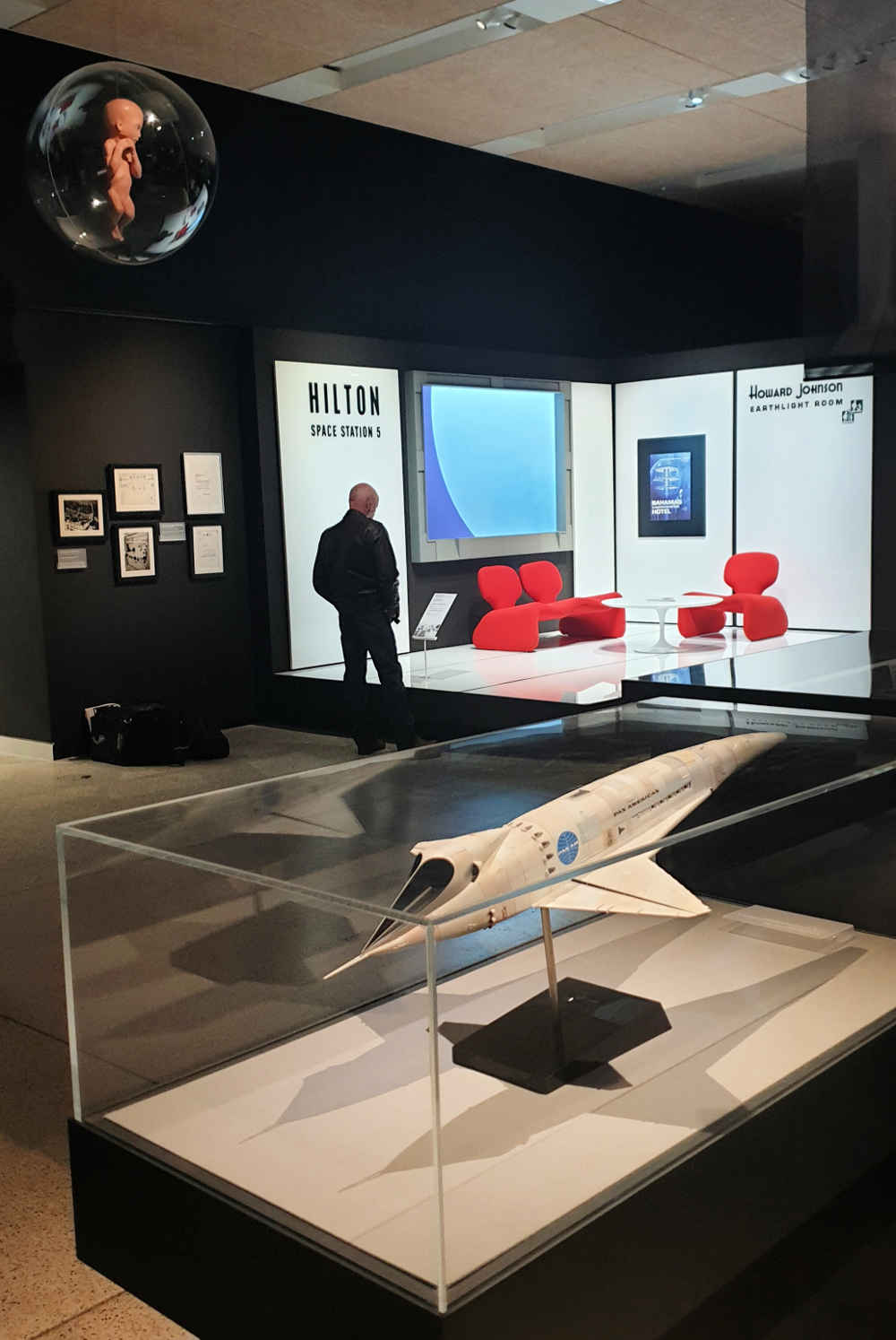 Stanley Kubrick, exhibition, design museum, Space Odyssey 2001, Hilton lounge, Star Child